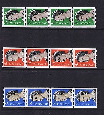 Australian Decimal Coil Stamps QE11 3c Green, 4c Red and 5c Blue MNH Strips of 4