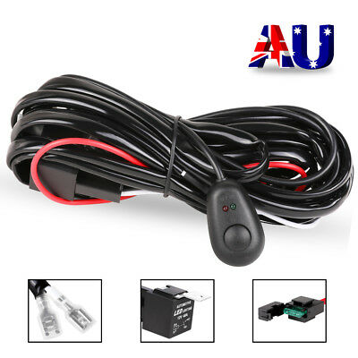Car LED Lights Wiring Harness 12V Kit Circuits Fuse Relay Switch 40A Offroad Fog