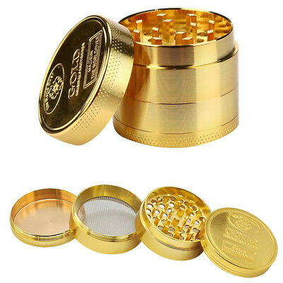Metal Tobacco 4 Layers Crusher Smoke Herbal Herb Mill Grinder Hand Muller Gold