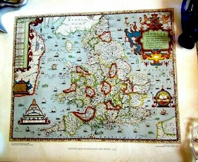 """MAP PRINT SAXTON'S Colored  """"  ENGLAND and WALES """" 1579  perfect   Antique"""