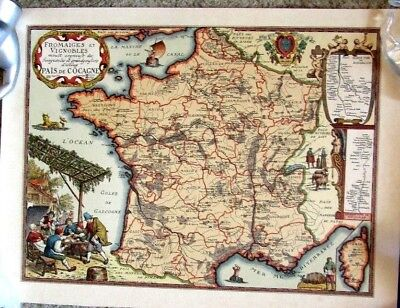 "MAP PRINT ANTIQUE   ""  PAIS DE COCAGNE  "" 1579    Perfect"