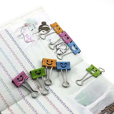 10Pcs Cartoon Smile Face Office Home File Paper Card Storage Metal Binder Clips