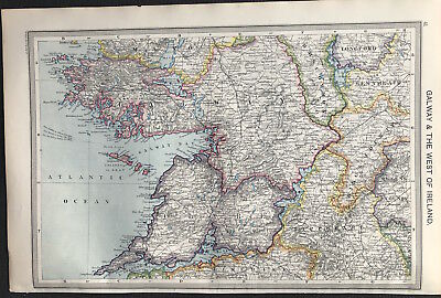 Antique Map GALWAY & THE WEST OF IRELAND 1906 Original litho color, detail