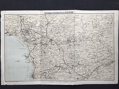Antique Map MINERAL DISTRICTS of AYRSHIRE Gazetteer Scotland c1882 Bartholemew