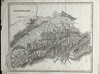 Antique Map SWITZERLAND c1840 by Arch Fullarton, original engraved outline color