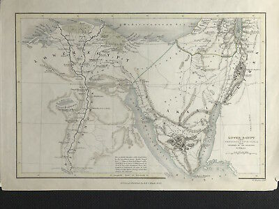 Antique Map LOWER EGYPT c1843 W Hughes & Black, original JOURNEYS OF ISRAELITES