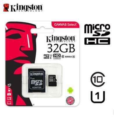 Kingston 32GB Micro SD SDHC 80MB/S TF Class10 Uhs-I Speicherkarte mit Adapter