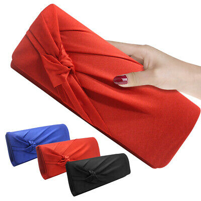 Womens Satin Prom Wedding Bridal Party Evening Clutch Bag Ladies Purse Handbag