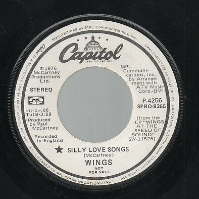 """THE BEATLES   WINGS   Rare 1976 USA Promo Only 7"""" OOP Single """"Silly Love Songs"""""""