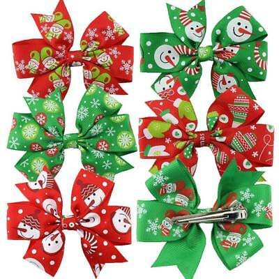 6Pcs/set Christmas Decoration Baby Girls Flower Bow Knot Hair Clips Accessories