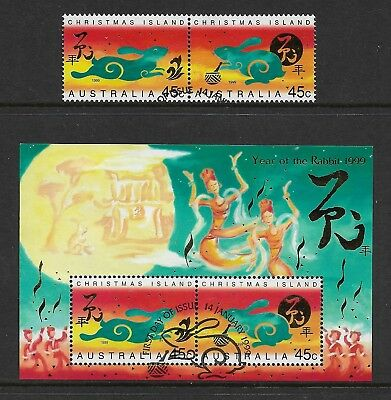 CHRISTMAS ISLAND 1999 Year of the Rabbit mini sheet + set, used first day cancel