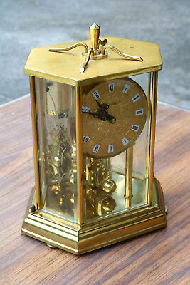 VINTAGE KUNDO GERMAN ANNIVERSARY CLOCK Etched Glass Brass Case Running A1