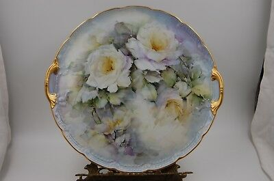 Antique Limoges  Hand Painted Roses Tray , Plaque Charger  ...wow
