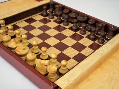 VINTAGE MID 20th C QUALITY FRENCH TRAVEL MAGNETIC  CHESS SET and ORG BOARD-BOX
