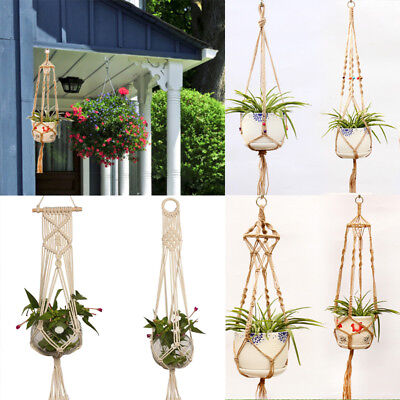 Macrame Plant Hanger Vintage Rope Basket Outdoor Pot Holder Flower Garden LOT