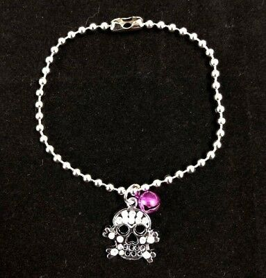 Chihuahua Toy Dog Puppy Cat Kitten Skull Tag Pendent Necklace Collar With Bells