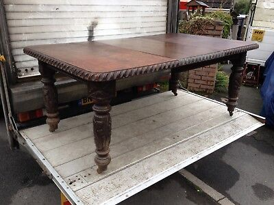 Vintage Oak Carved Windout Extending Dining Table