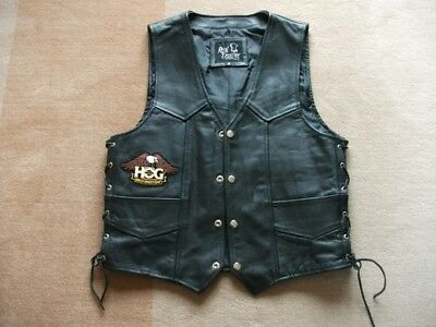 """Harley Davidson Waistcoat - VGC, 36""""-38"""" Chest, Lace-Up Sides"""