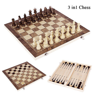 3 in 1 Chess Wooden Set Folding Chessboard Pieces Board Checkers Backgammon Game