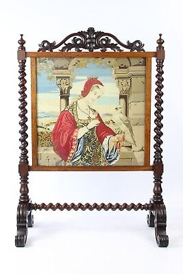 Large Victorian Rosewood Fire Screen -Antique Gothic Revival Tapestry Firescreen