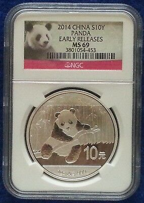 2014 NGC MS69 Chinese Silver Panda 10 Yuan 1 OZ Early Releases Coin