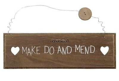 Make Do and Mend Wood Sign Plaque Vintage Wall Hanging Heart Button Decor NEW