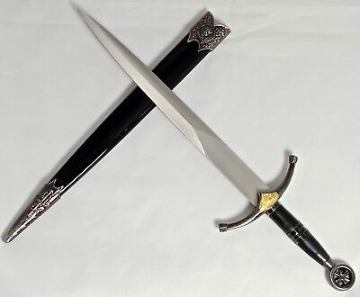 Miniature Medieval Crusader Knight Stainless Steel Sword Dagger Golden Lion