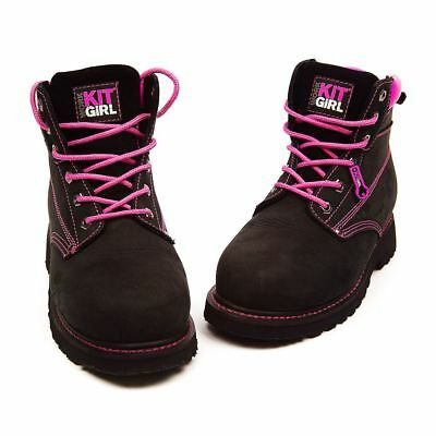 Womens - Safety Work Boots - Black/Pink