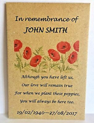100 Personalised Funeral Favours Seed Packets Poppy with Poem and NO Seeds