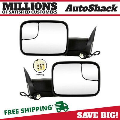 Pair (2) Power Heated Folding Extendable Side Mirror Fits 98-2002 Dodge Ram 2500