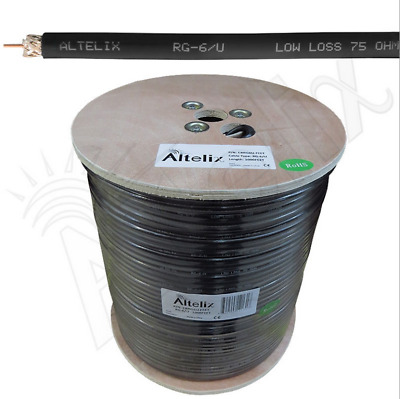 Altelix RG6U Double Shielded 75 Ohm Low Loss Coaxial Cable 1000 Feet Reel