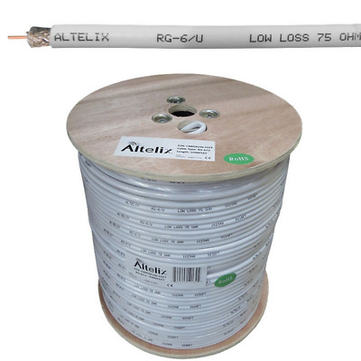 Altelix WHITE RG6U Double Shielded 75 Ohm Low Loss Coaxial Cable 1000 Feet Reel