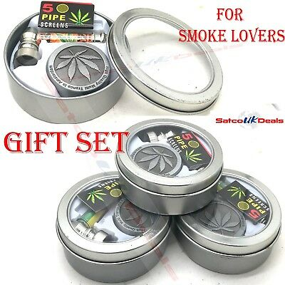 3-in-1 GRINDER+SMOKING METAL GLASS PIPE+SCREENS LEAF CRUSHER AMSTERDAM GIFT SET