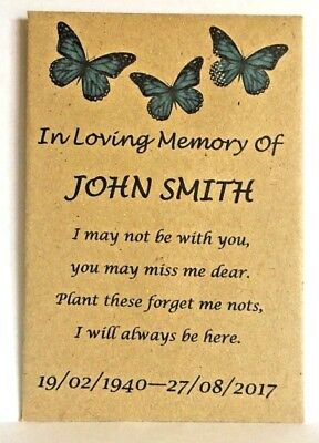 25 Personalised Funeral Favours Seed Packets Butterfly Keepsake With Seeds