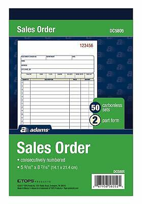 Adams Sales Order Book, 2-Part, Carbonless, White/Canary, 5-9/16 x 8-7/16 DC5805