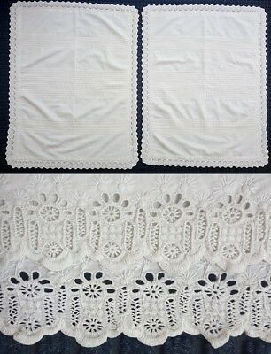 Antique Victorian Ayrshire Lace Embroidered Layover Pillow Covers Lay Over Cases