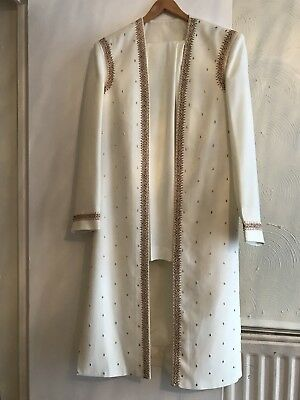 Mens Asian Indian Off- White Sherwani Wedding Outfit Size 38