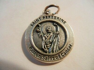 """St. Peregrine Patron St. of Cancer Survivor Medal New  Made in Italy  3/4"""" round"""