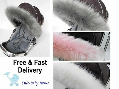 Pushchair Pram hood Faux fur trim my Babiie . Custom Order  / universal fit