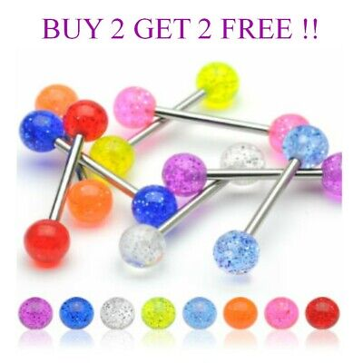 T0001 Glitter Ball Tongue Bar Piercing Bar Tounge Nipple - 8 Colours - 5 Sizes