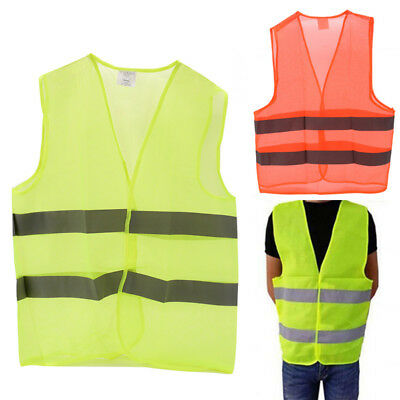 High Safety Visibility Reflective Vest Warning Waistcoat Stripes Jacket Car FO