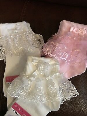 Baby Girl Frilly Lace Socks Ivory White Pink 0-2.5 3-5.5 Christening FREE POST