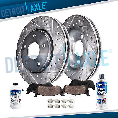 Front Brake DRILLED & SLOTTED Rotors + Ceramic Pad for Challenger Charger Magnum