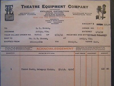 Vtg Movie Billhead Theatre Equip 1918 Ticket Booth Mahogany Finish
