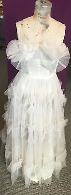 1980's Sweetheart Wedding Dress, Tiered Skirt, Tulle Overlay, Glam Rock Look