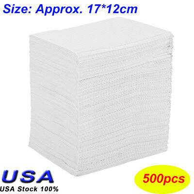 500 Disposable Dental Tattoo White bibs 12x17cm , 2-ply Tissue + 1-Poly backed