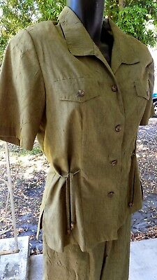 VTG Patchington Women's 2 piece Outfit Olive Green Size M Pants Matching Shirt