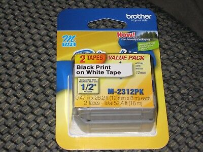 """2 pack Brother M231 P-Touch Label Tape, Ptouch 1/2"""" M-231 M-2312PK NIB SEALED"""