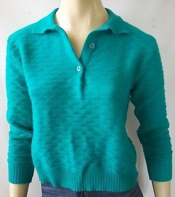 SLADE vintage ladies size 12 bust 85cm jumper knit pure new wool green retro