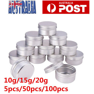 Aluminium Empty Cosmetic Pot Lip Balm Jar Tin Container Silver Box Containers AU